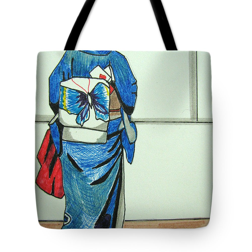 Japonese Culture Tote Bag featuring the drawing Japonese Girl by Patricia Arroyo