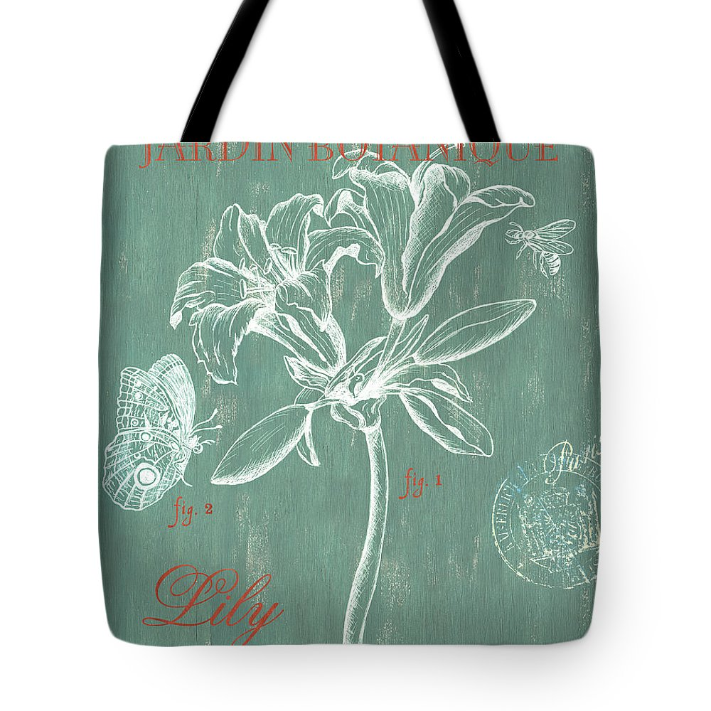 Floral Tote Bag featuring the drawing Jardin Botanique Aqua by Debbie DeWitt