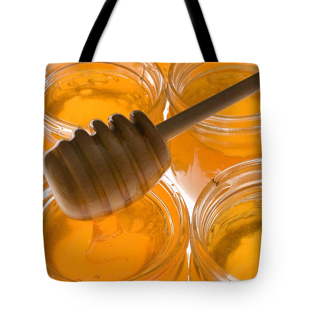 Honey Tote Bag featuring the photograph Jarrs Of Honey by Garry Gay