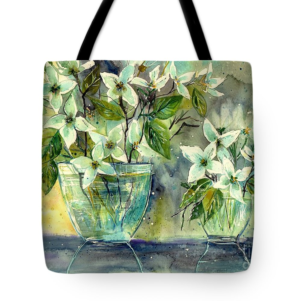 Cosmic Tote Bag featuring the painting Jasmine In Glass by Suzann Sines