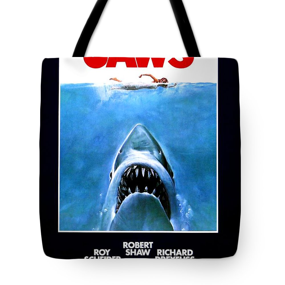 Jaws Tote Bag featuring the photograph Jaws Movie Poster - 1975 by The Titanic Project