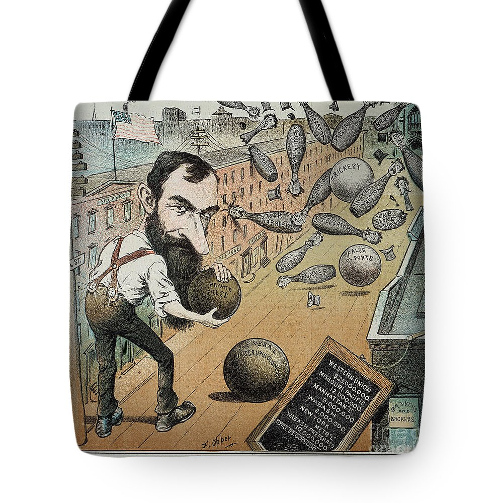 1882 Tote Bag featuring the photograph Jay Gould Cartoon, 1882 by Granger