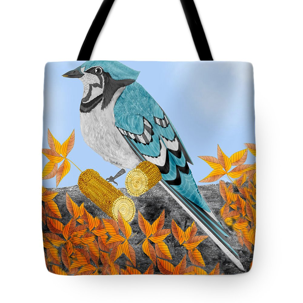 Jay Bird Tote Bag featuring the painting Jay With Corn And Leaves by Anne Norskog