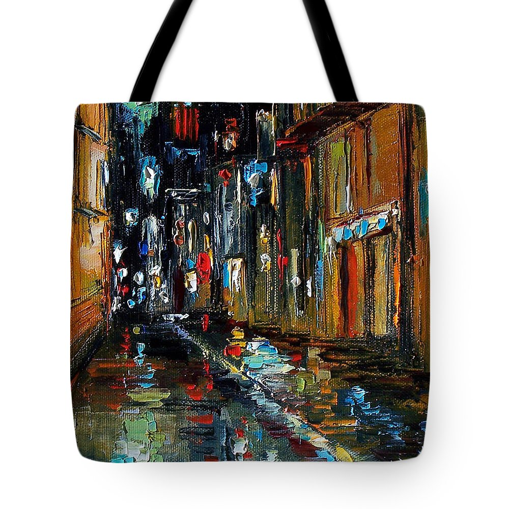 New Orleans Tote Bag featuring the painting Jazz Alley by Debra Hurd