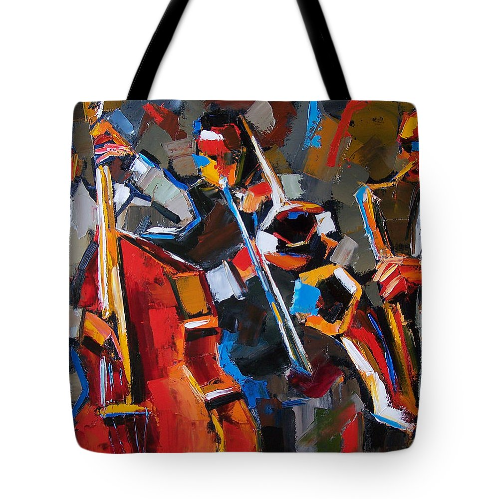 Jazz Tote Bag featuring the painting Jazz Angles by Debra Hurd