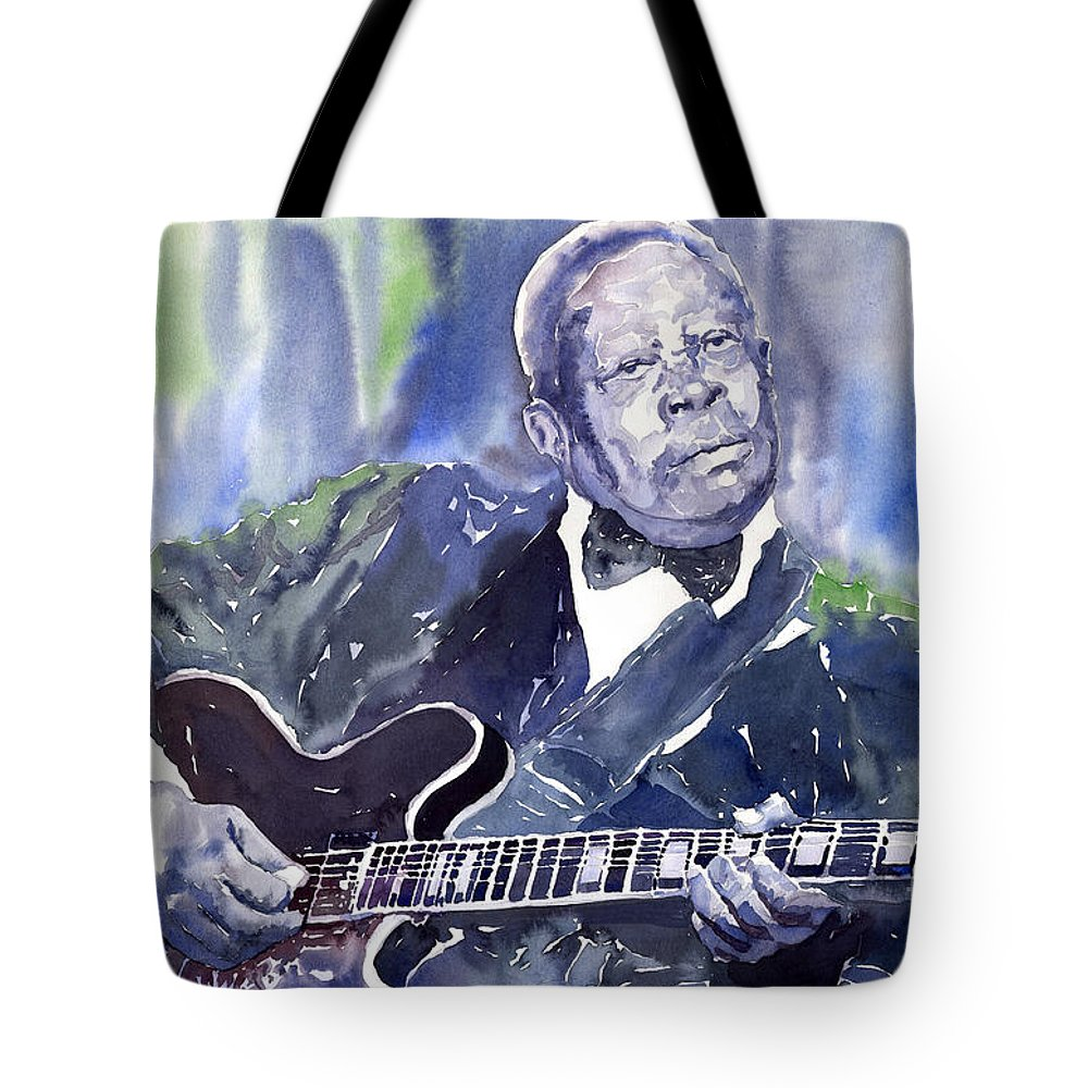 Jazz Bbking Music Watercolor Watercolour Guitarist Portret Tote Bag featuring the painting Jazz B B King 01 by Yuriy Shevchuk
