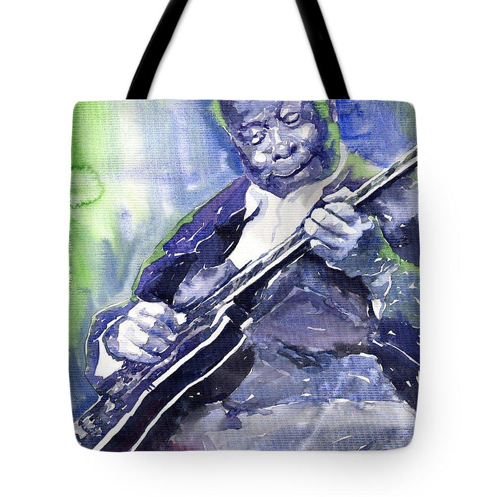 Jazz Tote Bag featuring the painting Jazz B B King 02 by Yuriy Shevchuk