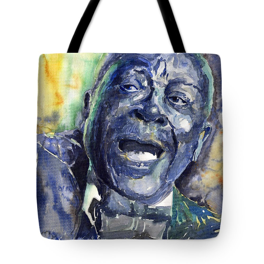 Jazz Tote Bag featuring the painting Jazz B.B.King 04 Blue by Yuriy Shevchuk