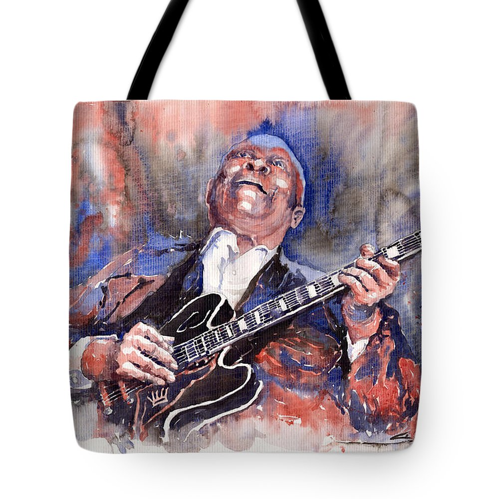 Jazz Tote Bag featuring the painting Jazz B B King 05 Red A by Yuriy Shevchuk