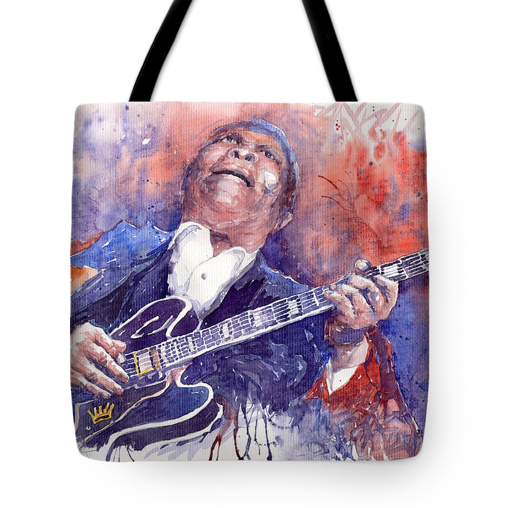 Jazz Tote Bag featuring the painting Jazz B B King 05 Red by Yuriy Shevchuk
