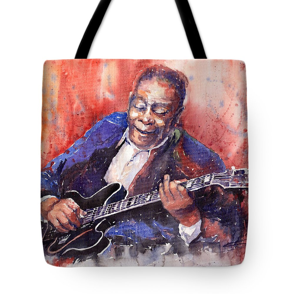 Jazz Tote Bag featuring the painting Jazz B B King 06 A by Yuriy Shevchuk