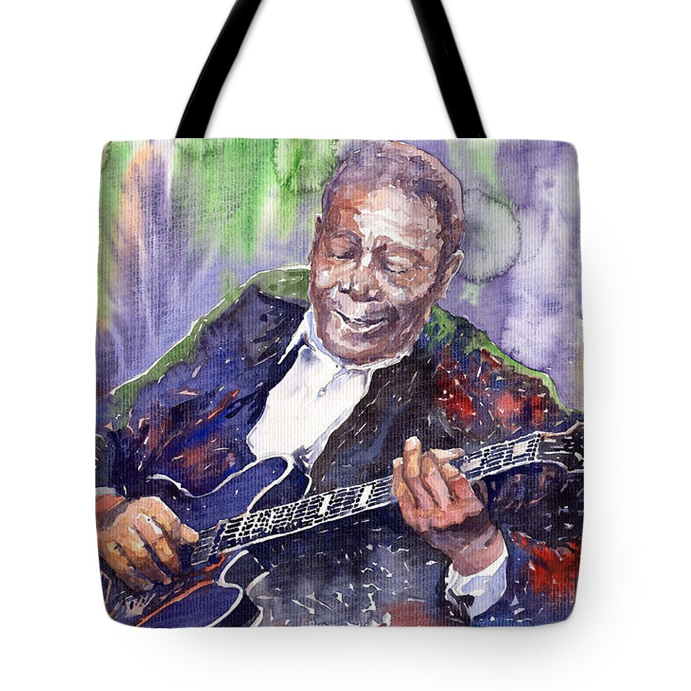 Jazz Tote Bag featuring the painting Jazz B B King 06 by Yuriy Shevchuk