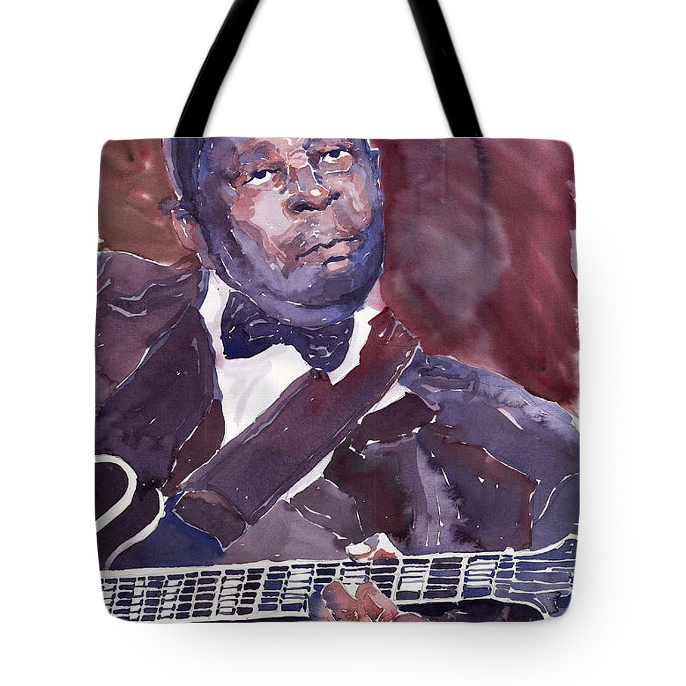 Jazz Bbking Guitarist Blues Portret Figurative Music Tote Bag featuring the painting Jazz B B King by Yuriy Shevchuk