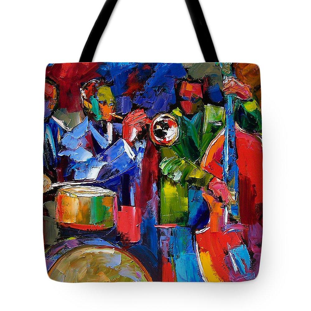 Jazz Tote Bag featuring the painting Jazz Beat by Debra Hurd