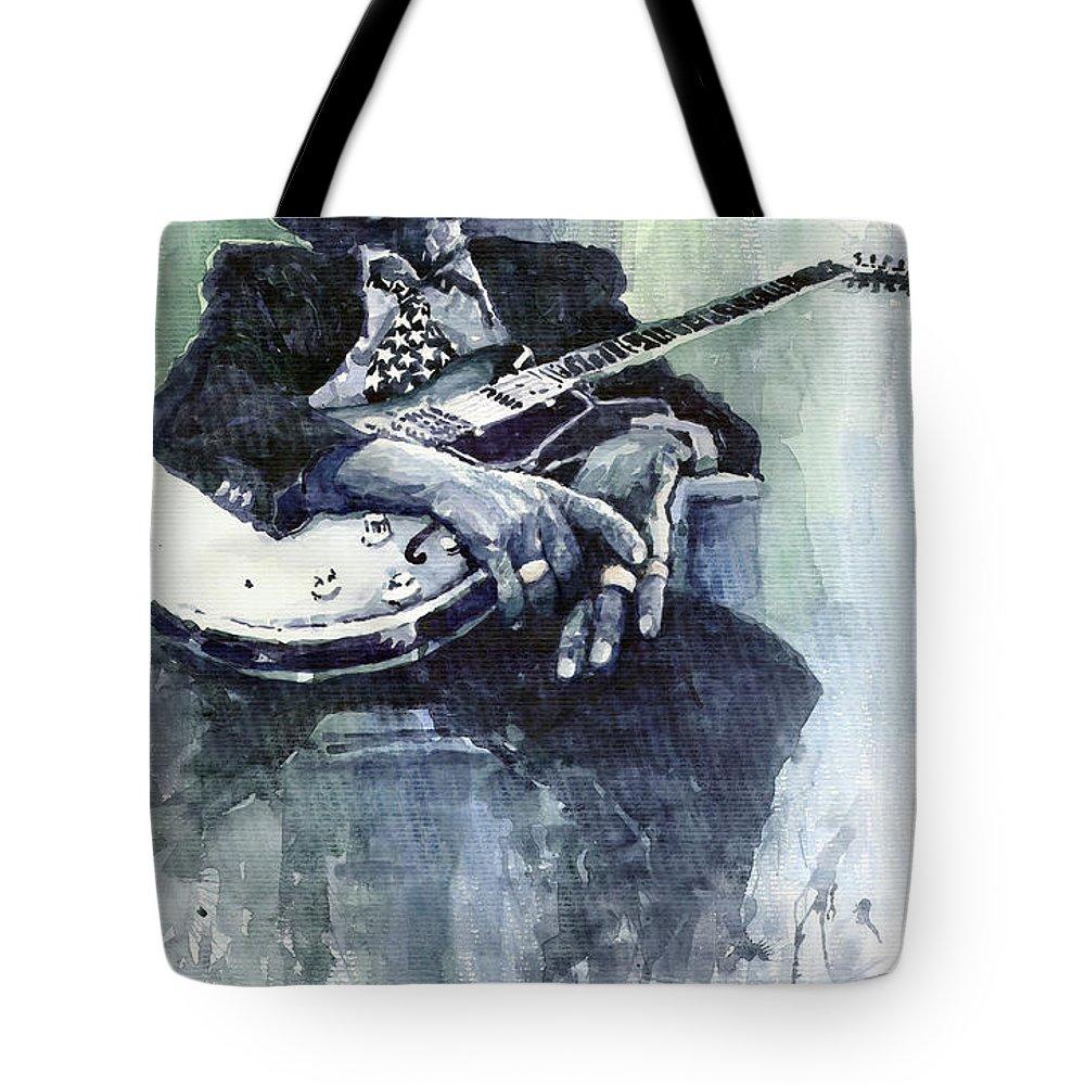 Jazz Tote Bag featuring the painting Jazz Bluesman John Lee Hooker 04 by Yuriy Shevchuk