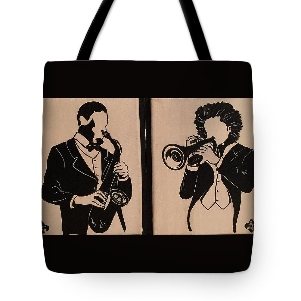 Musical Tote Bag featuring the painting Jazz Jammin Brothers by Gilda Thomas
