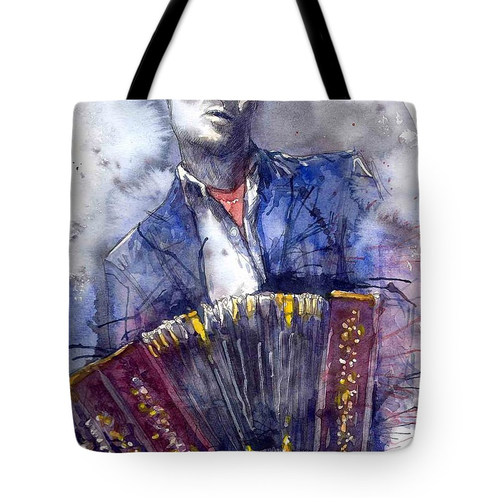 Jazz Tote Bag featuring the painting Jazz Concertina player by Yuriy Shevchuk