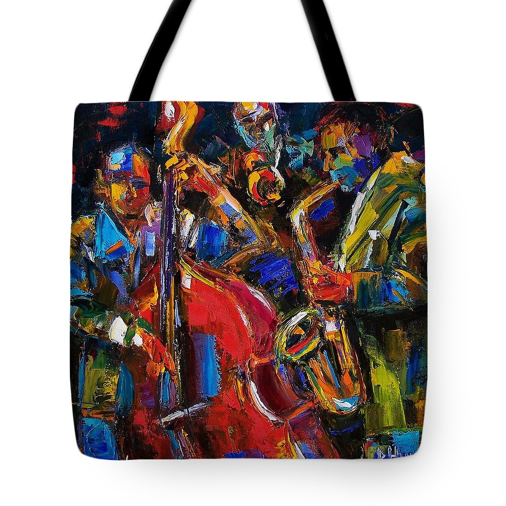 Jazz Tote Bag featuring the painting Jazz by Debra Hurd