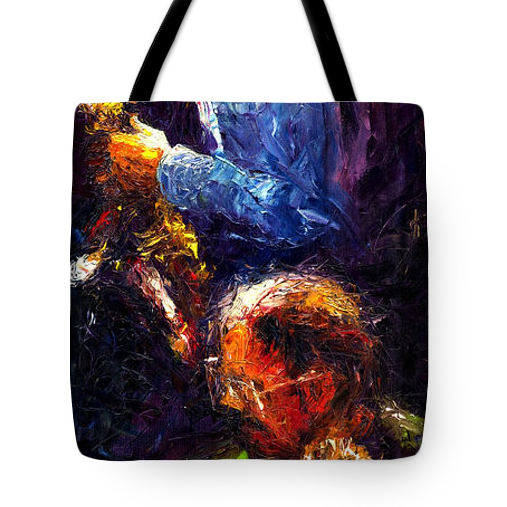 Jazz Tote Bag featuring the painting Jazz Duet by Yuriy Shevchuk