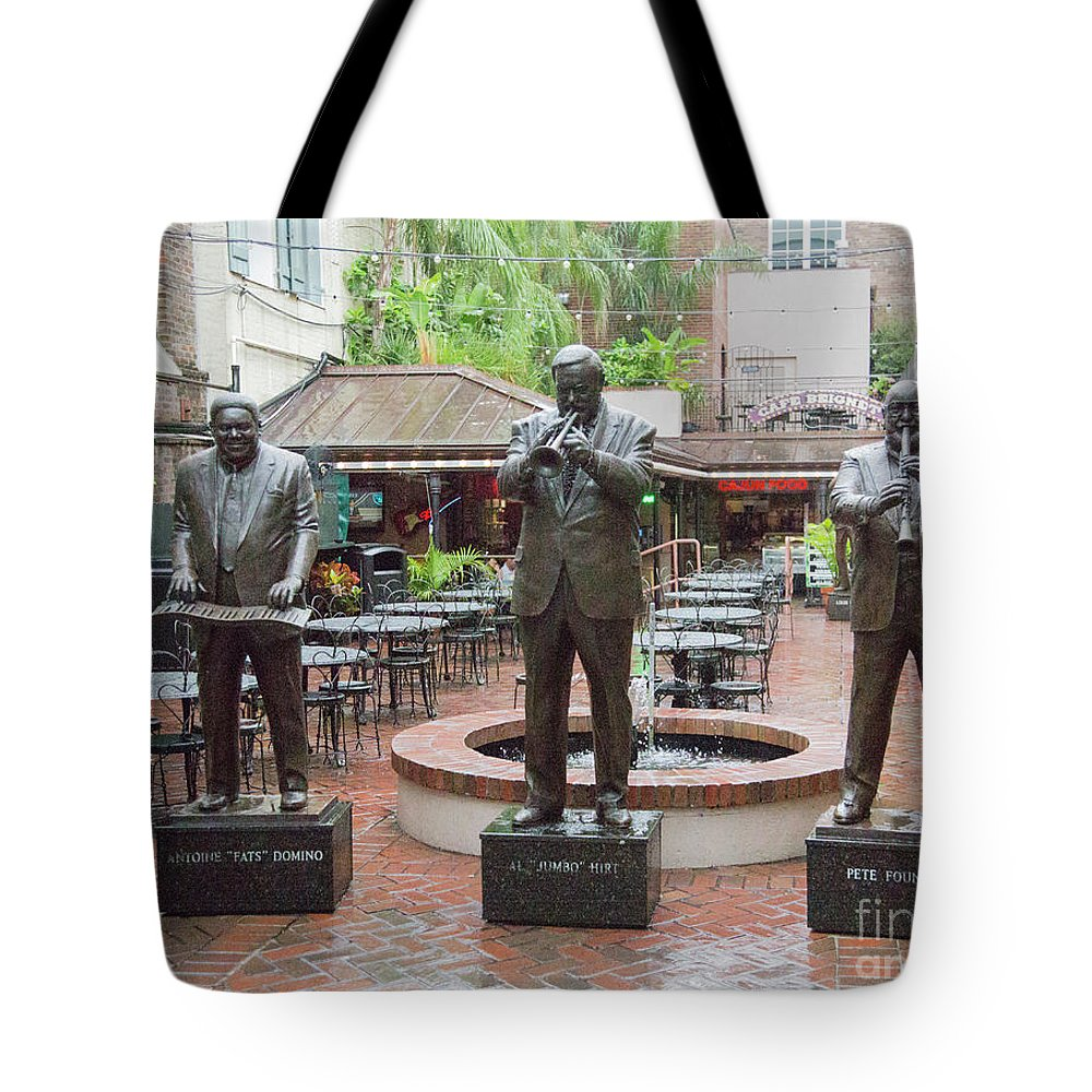 Jazz Tote Bag featuring the photograph Jazz Greats Al Hirt Fats Domino Pete Fountain Stature New Orleans by Chuck Kuhn