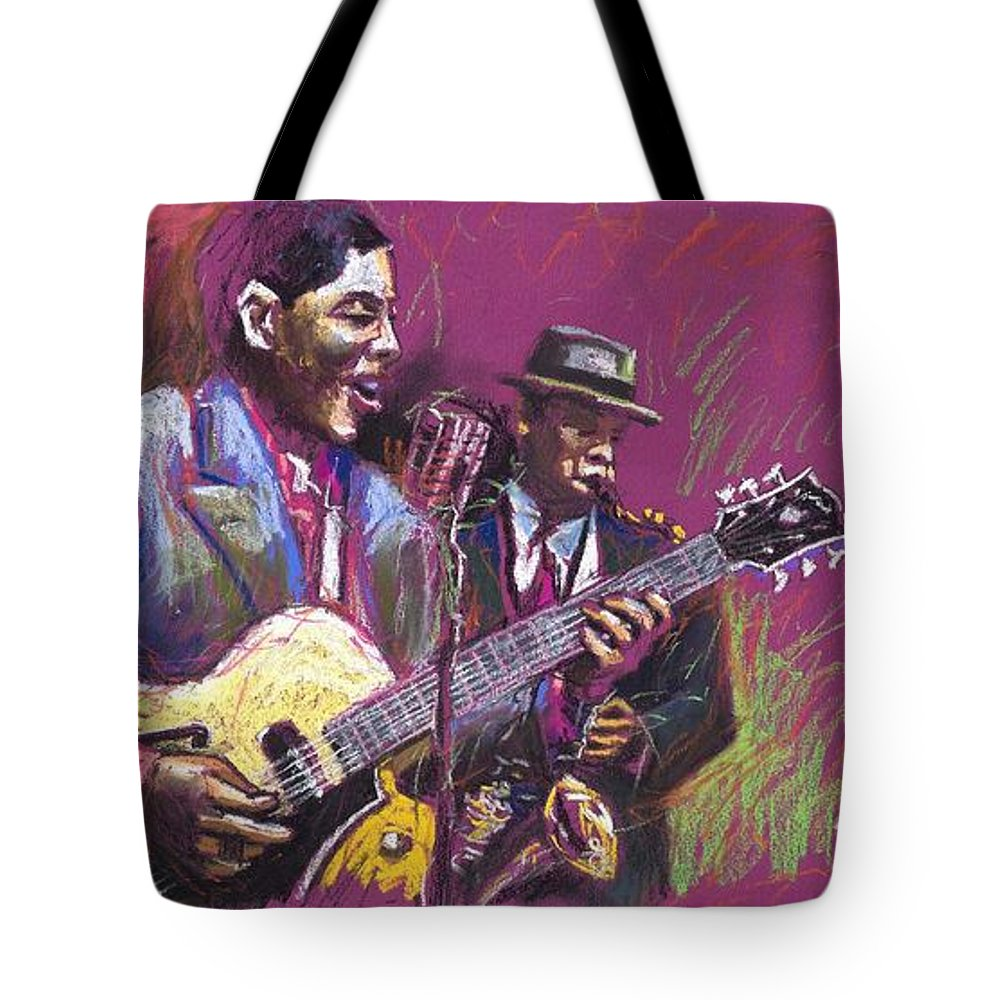 Jazz Tote Bag featuring the painting Jazz Guitarist Duet by Yuriy Shevchuk