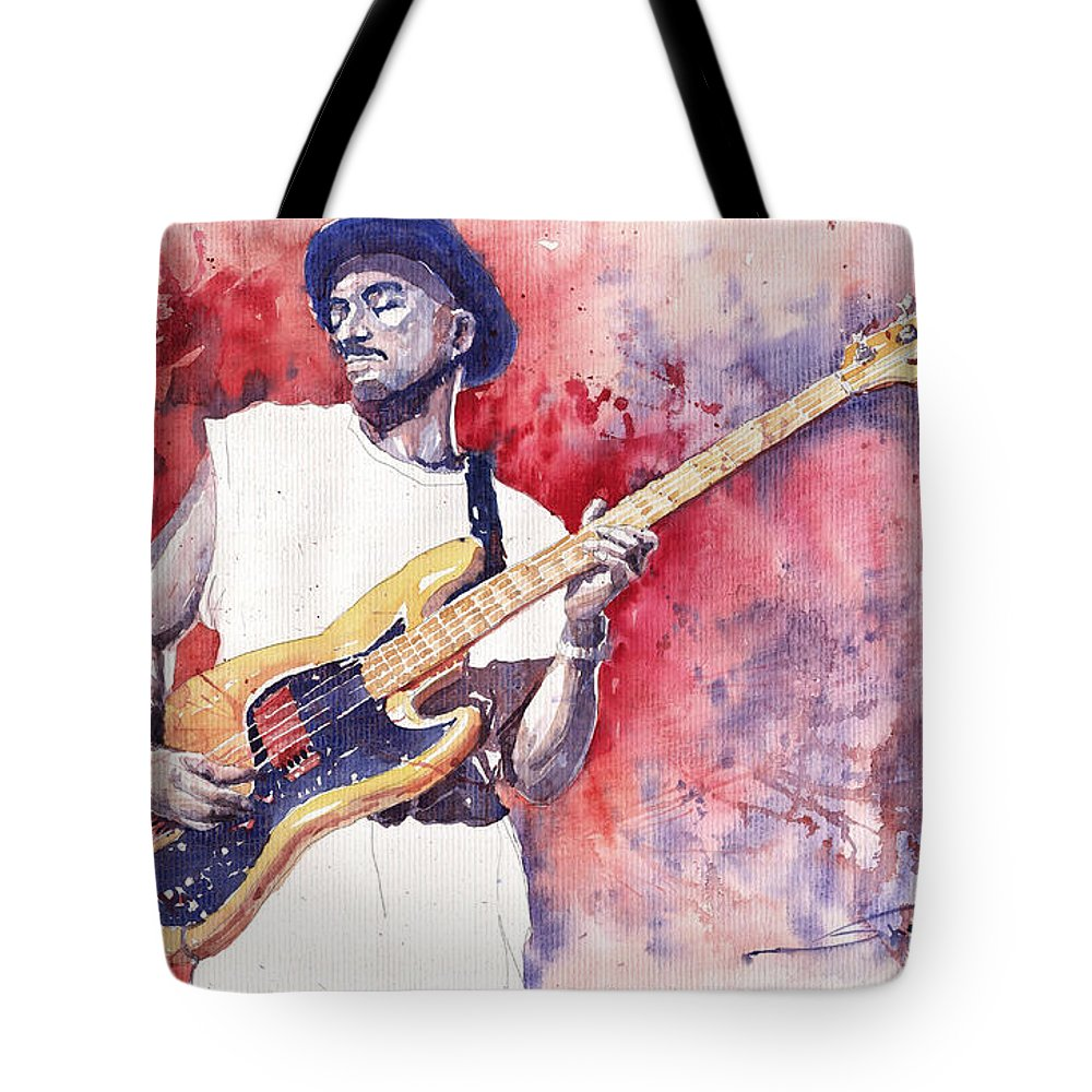 Jazz Tote Bag featuring the painting Jazz Guitarist Marcus Miller Red by Yuriy Shevchuk