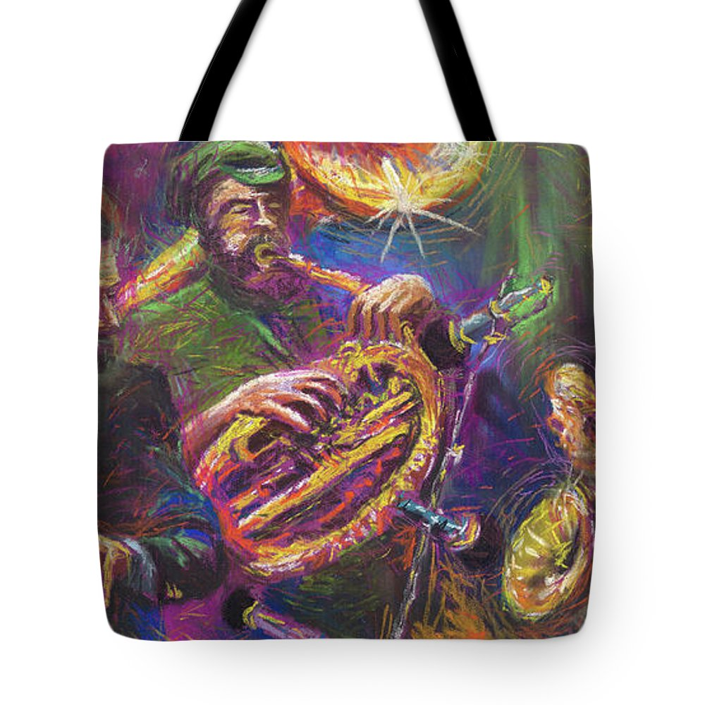 Jazz Tote Bag featuring the painting Jazz Jazzband Trio by Yuriy Shevchuk