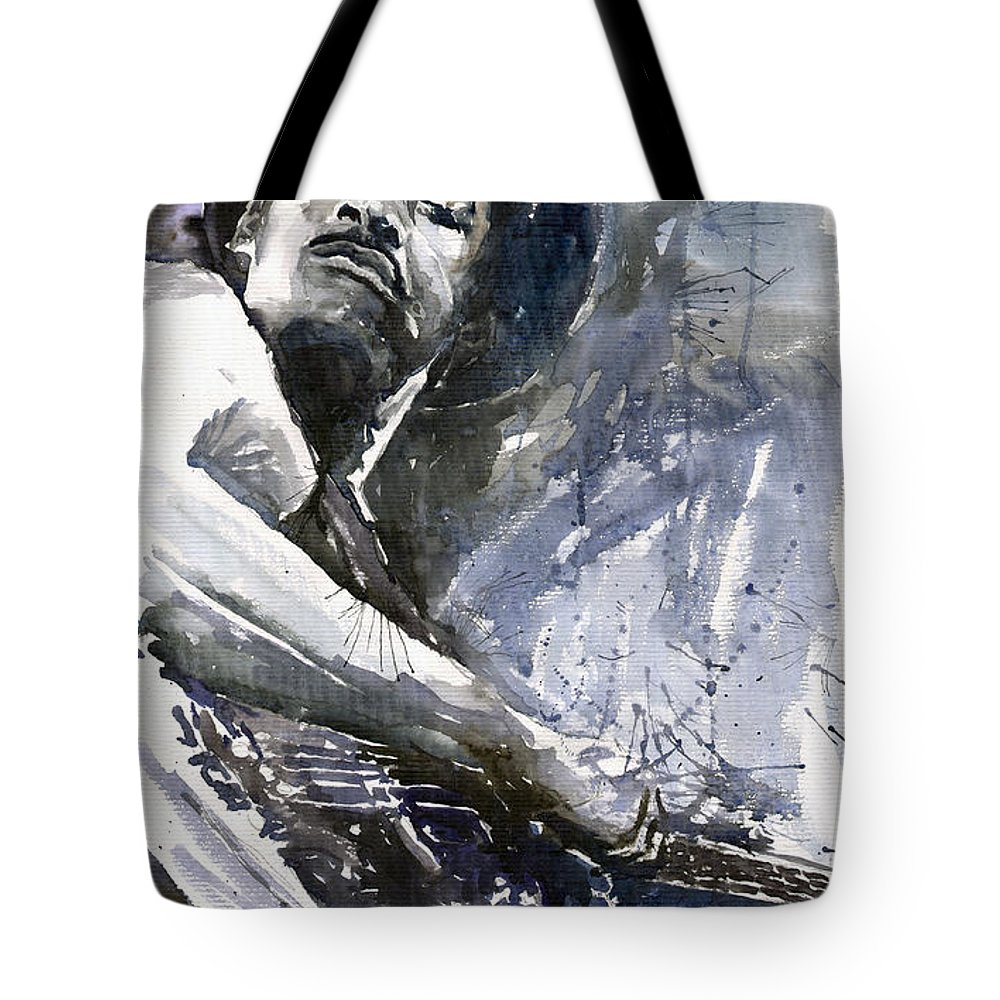 Jazz Tote Bag featuring the painting Jazz Marcus Miller 01 by Yuriy Shevchuk