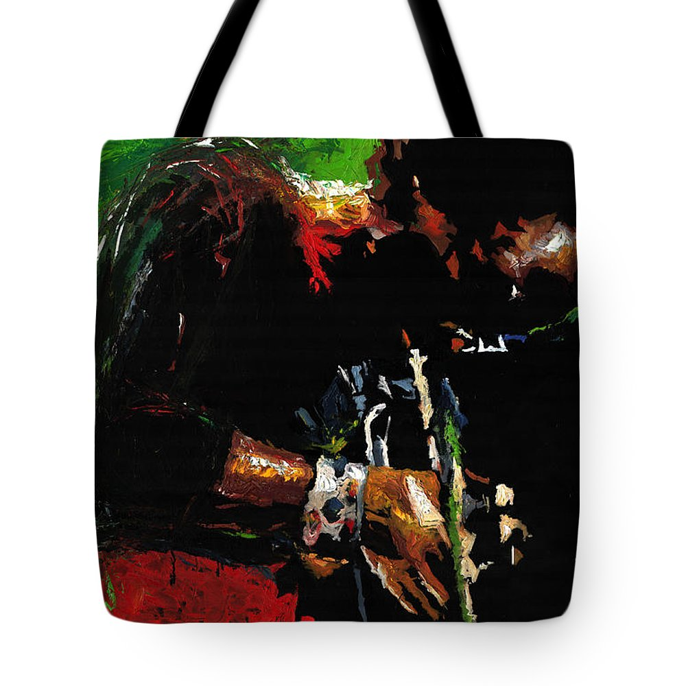 Jazz Tote Bag featuring the painting Jazz Miles Davis 1 by Yuriy Shevchuk