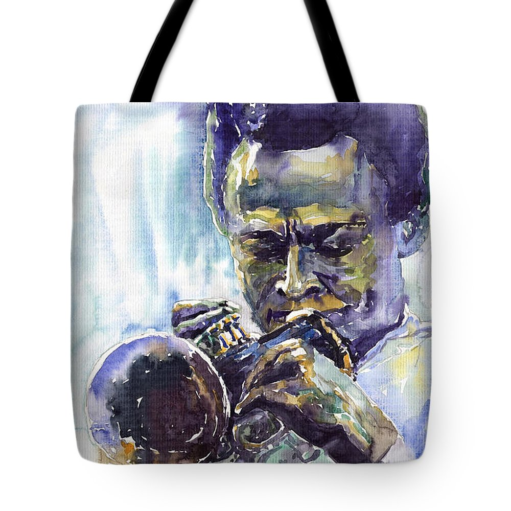 Jazz Miles Davis Music Musiciant Trumpeter Portret Tote Bag featuring the painting Jazz Miles Davis 10 by Yuriy Shevchuk