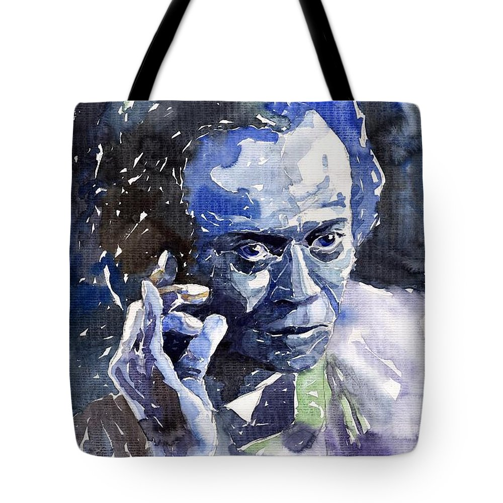 Jazz Tote Bag featuring the painting Jazz Miles Davis 11 Blue by Yuriy Shevchuk