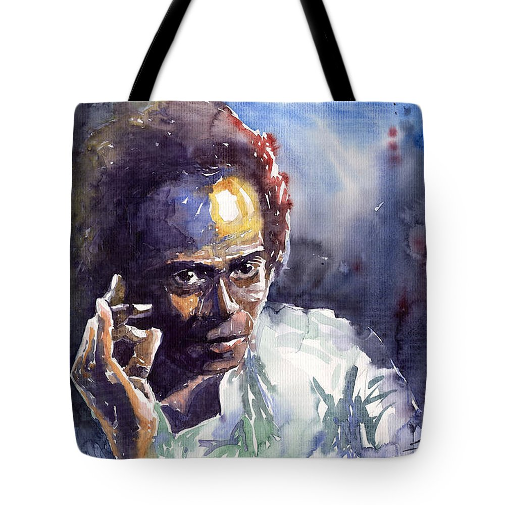 Jazz Watercolor Watercolour Miles Davis Portret Tote Bag featuring the painting Jazz Miles Davis 11 by Yuriy Shevchuk