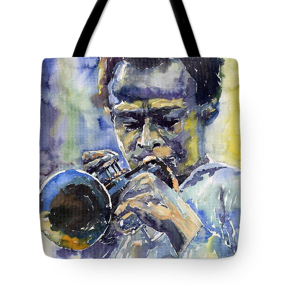 Jazz Tote Bag featuring the painting Jazz Miles Davis 12 by Yuriy Shevchuk