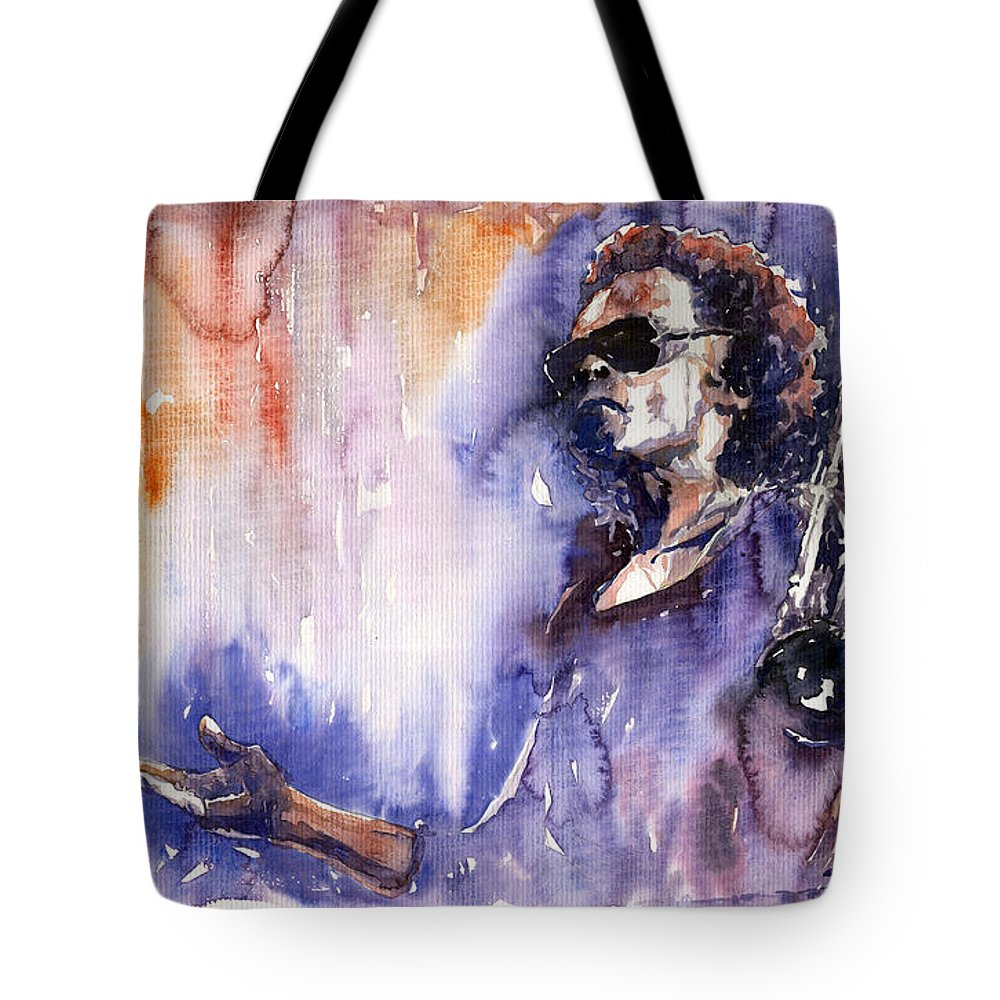 Jazz Tote Bag featuring the painting Jazz Miles Davis 14 by Yuriy Shevchuk