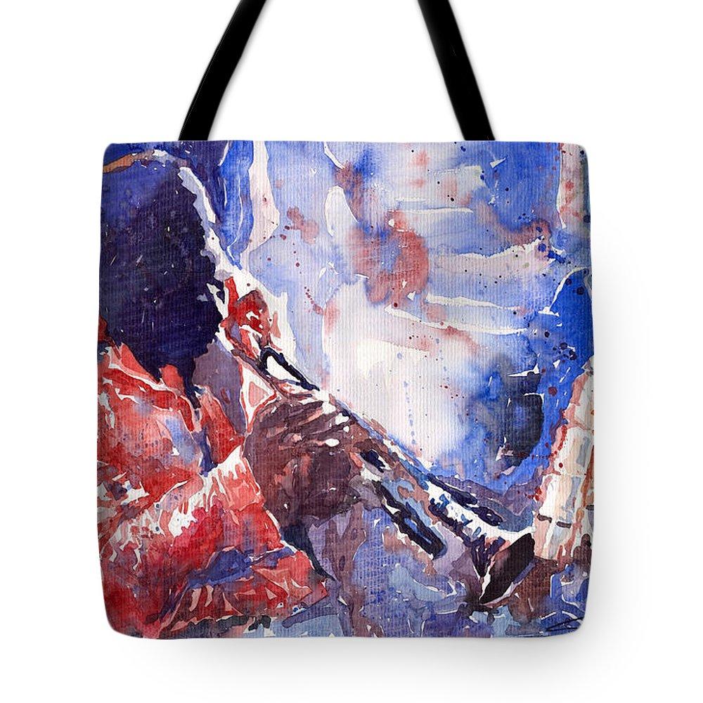 Jazz Tote Bag featuring the painting Jazz Miles Davis 15 by Yuriy Shevchuk