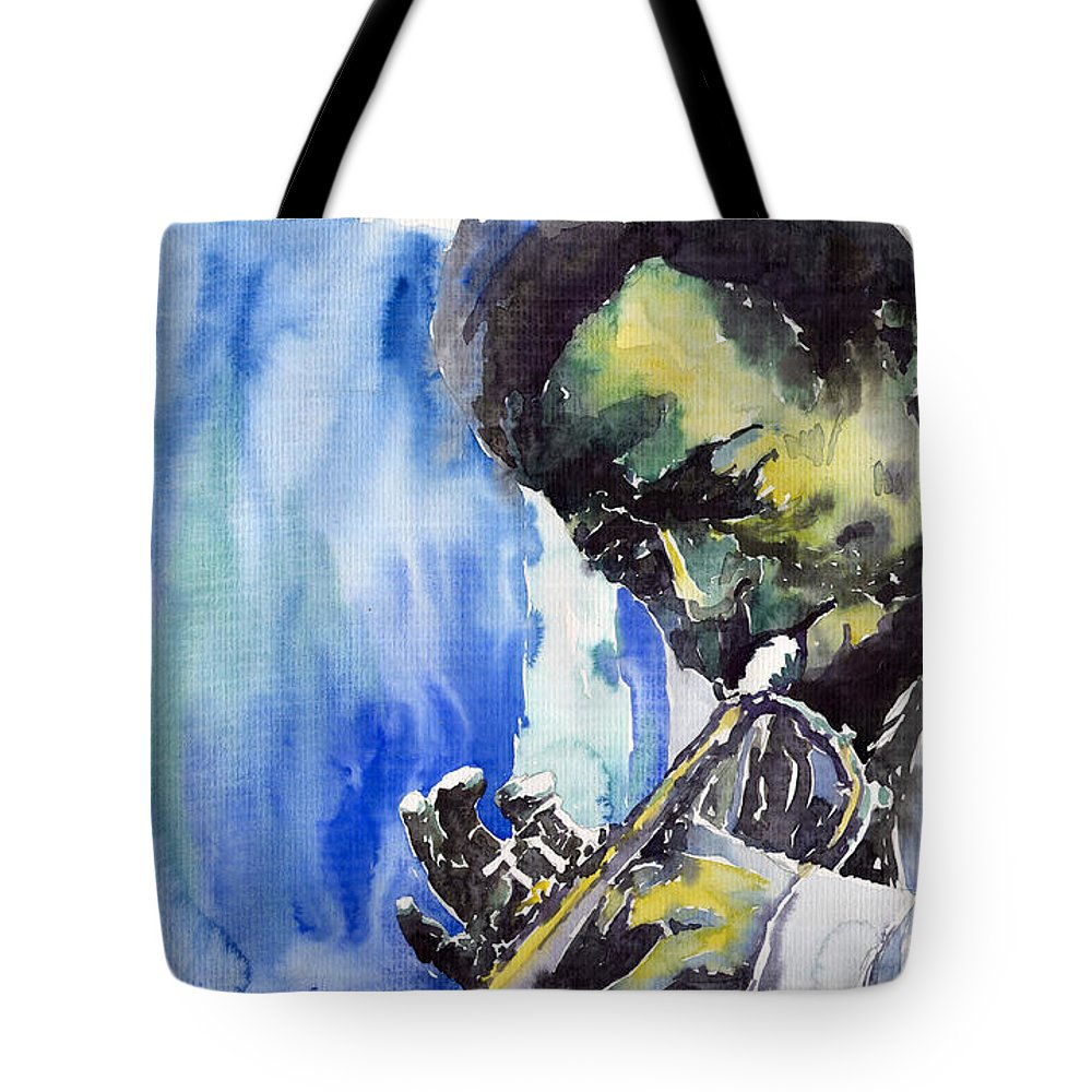 Tote Bag featuring the painting Jazz Miles Davis 5 by Yuriy Shevchuk