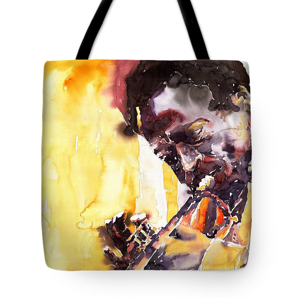 Jazz Music Watercolor Watercolour Miles Davis Trumpeter Portret Tote Bag featuring the painting Jazz Miles Davis 6 by Yuriy Shevchuk