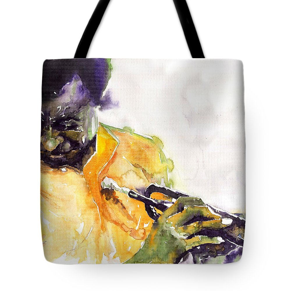 Davis Figurativ Jazz Miles Music Portret Trumpeter Watercolor Watercolour Tote Bag featuring the painting Jazz Miles Davis 7 by Yuriy Shevchuk