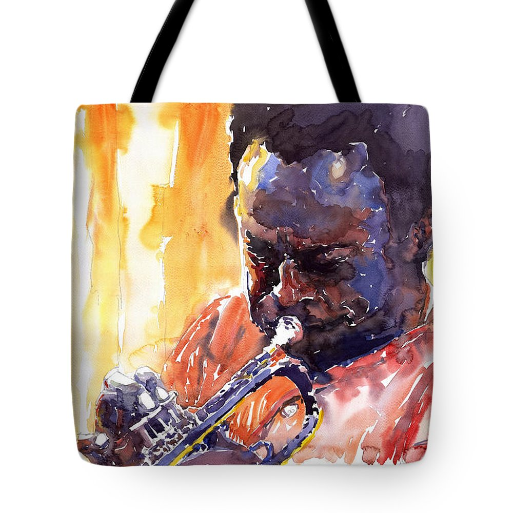 Jazz Miles Davis Music Watercolor Watercolour Figurativ Portret Trumpeter Tote Bag featuring the painting Jazz Miles Davis 8 by Yuriy Shevchuk