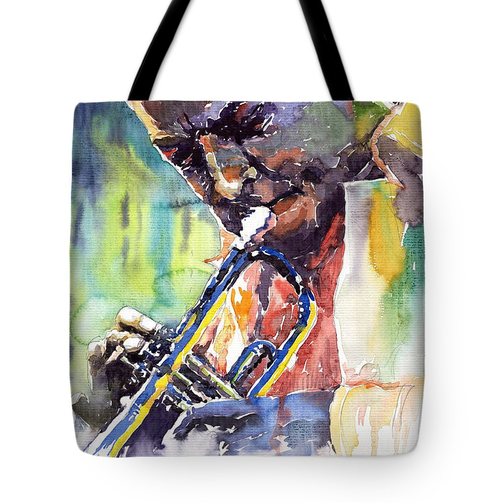 Jazz Miles Davis Music Musiciant Trumpeter Portret Tote Bag featuring the painting Jazz Miles Davis 9 Blue by Yuriy Shevchuk