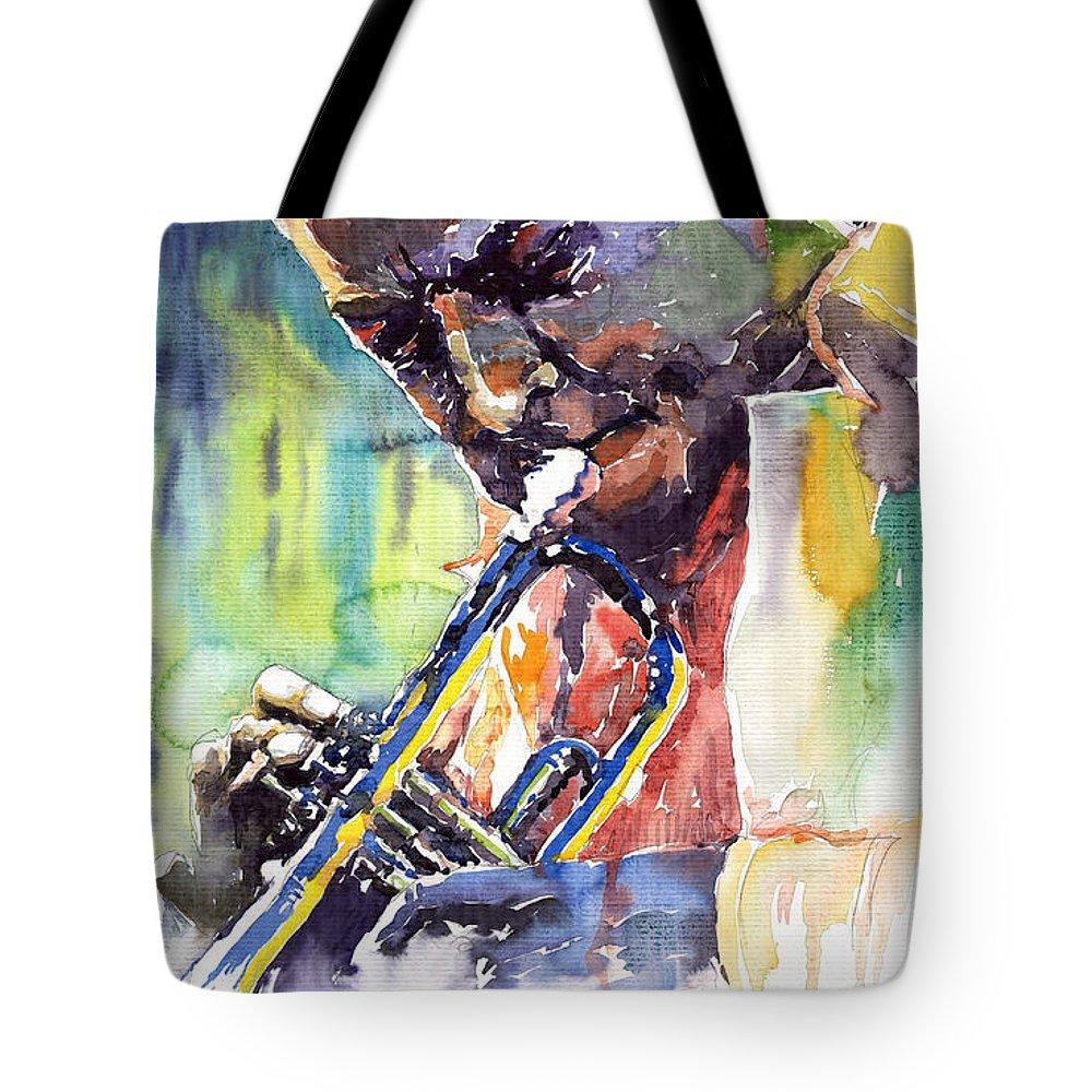 Jazz Tote Bag featuring the painting Jazz Miles Davis 9 Blue by Yuriy Shevchuk