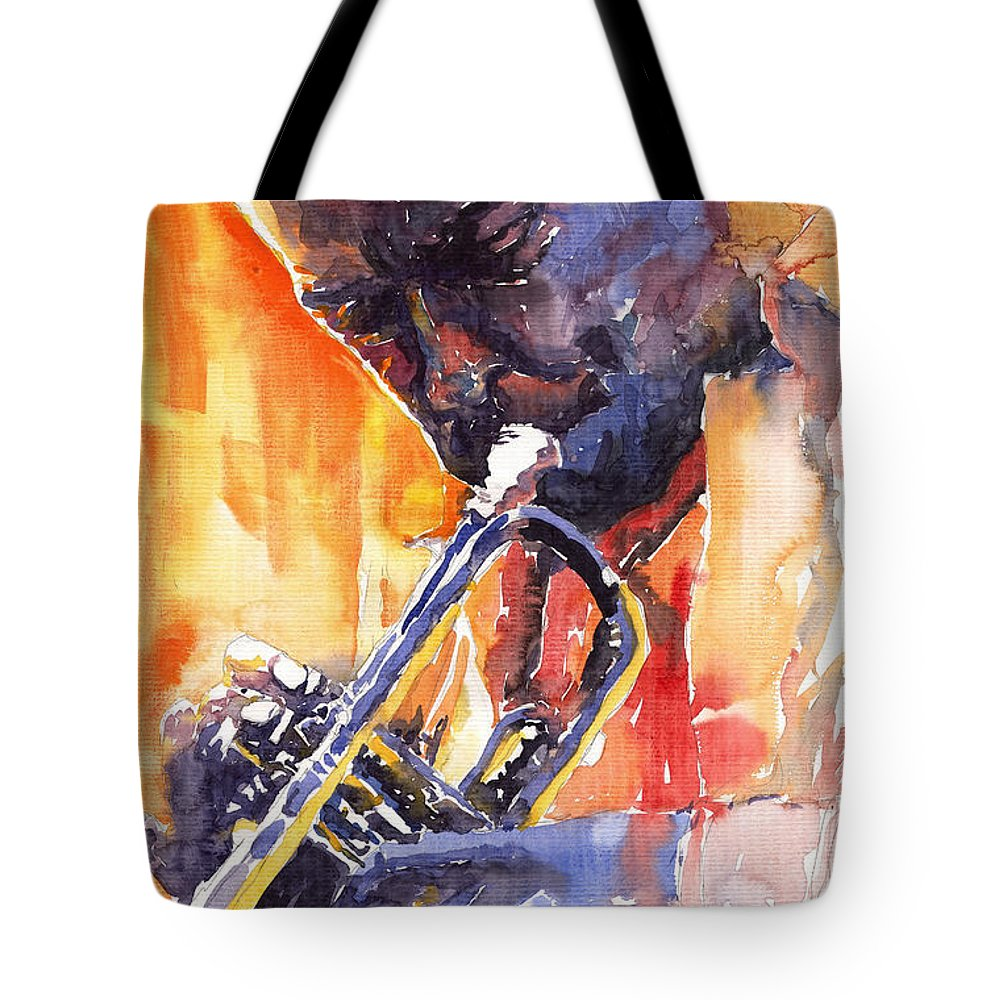 Jazz Tote Bag featuring the painting Jazz Miles Davis 9 Red by Yuriy Shevchuk