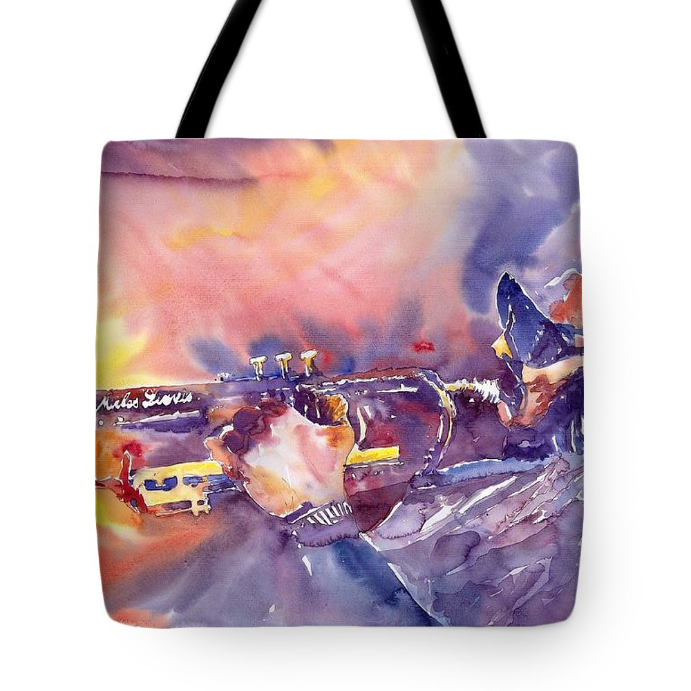 Jazz Watercolor Miles Davis Music Musician Trumpeter Figurative Watercolour Tote Bag featuring the painting Jazz Miles Davis Electric 1 by Yuriy Shevchuk