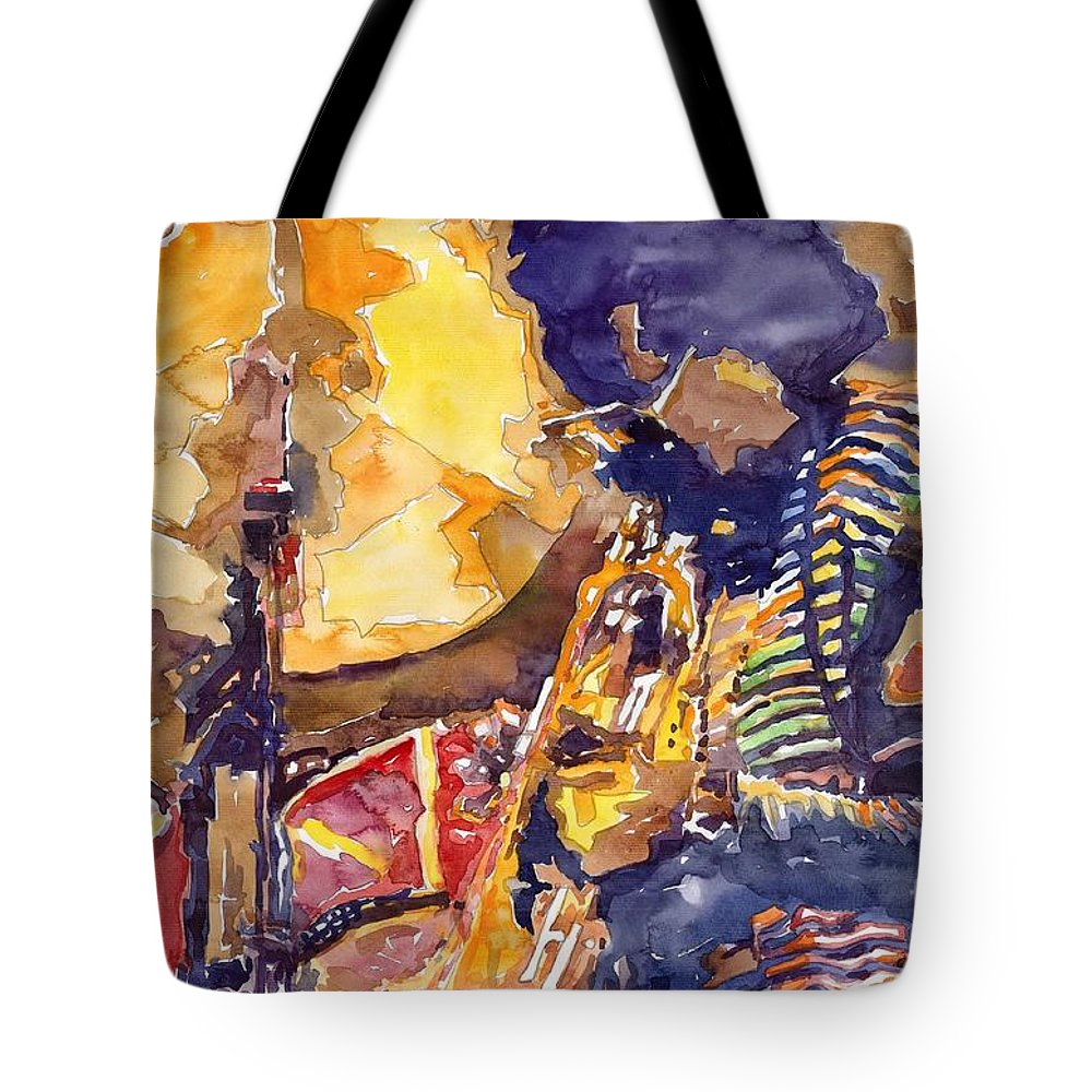 Miles Davis Figurative Jazz Miles Music Musiciant Trumpeter Watercolor Watercolour Tote Bag featuring the painting Jazz Miles Davis Electric 2 by Yuriy Shevchuk