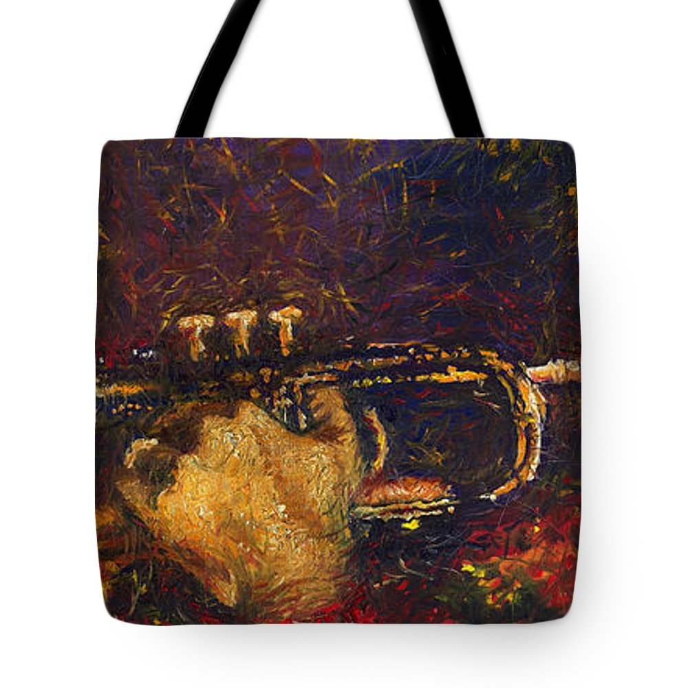 Jazz Tote Bag featuring the painting Jazz Miles Davis by Yuriy Shevchuk