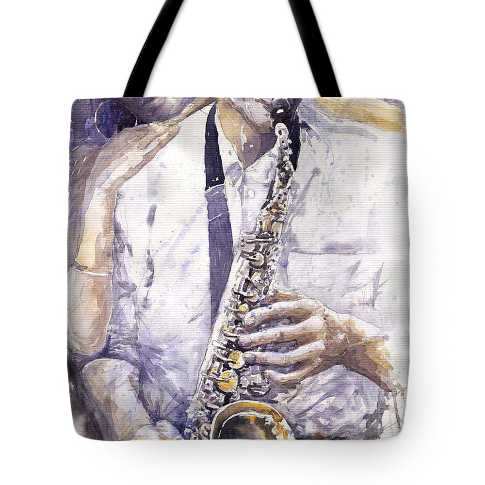 Jazz Tote Bag featuring the painting Jazz Muza Saxophon by Yuriy Shevchuk