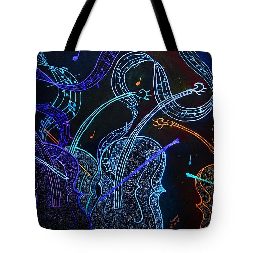 Jazznblues Tote Bag featuring the mixed media Jazz N Blues by Dwayne Hamilton