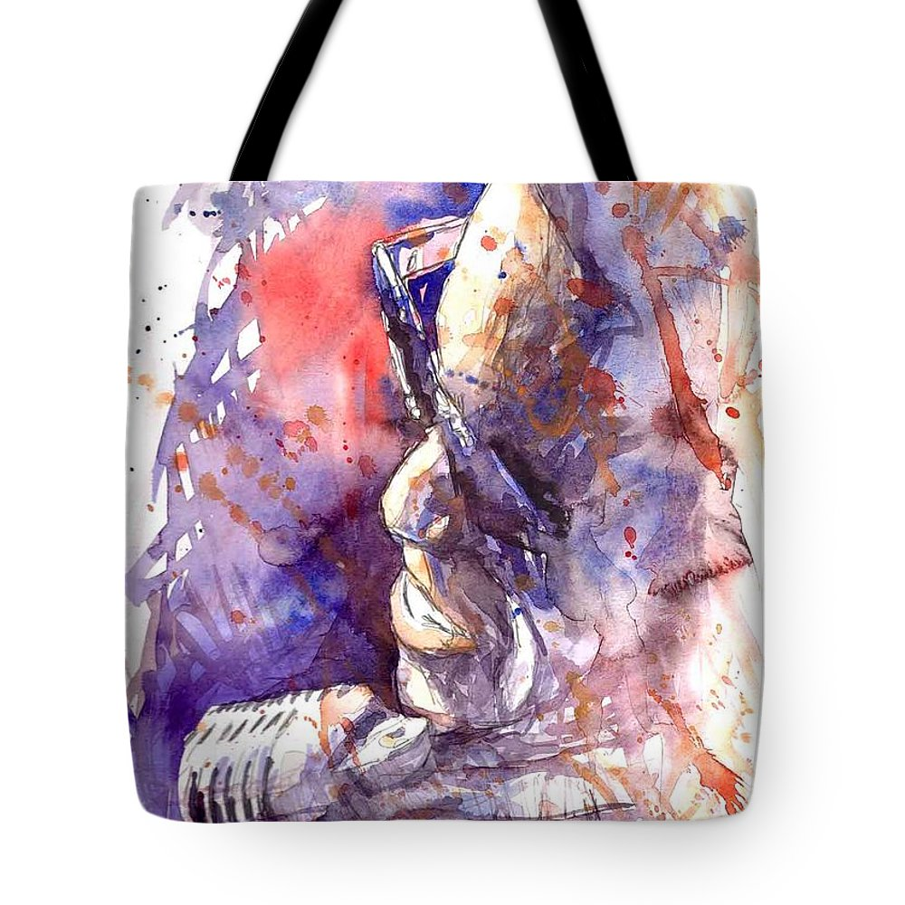 Portret Tote Bag featuring the painting Jazz Ray Charles by Yuriy Shevchuk