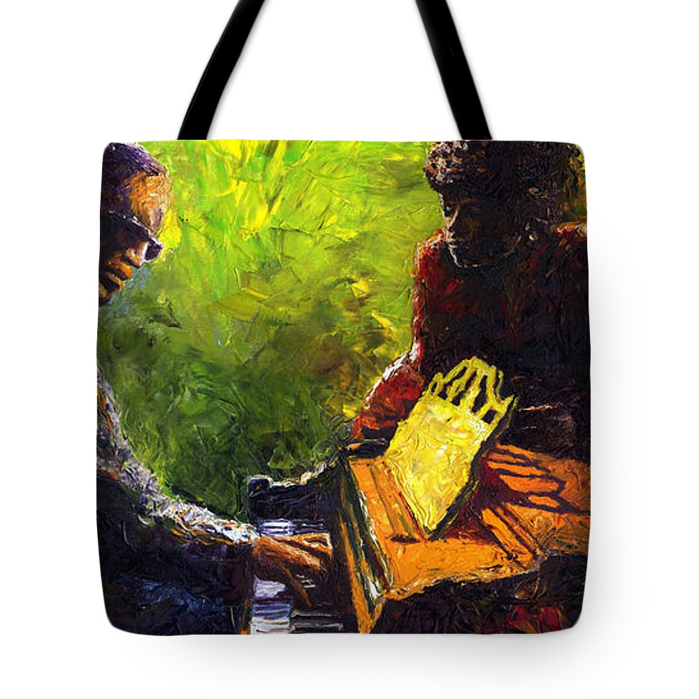 Jazz Tote Bag featuring the painting Jazz Ray Duet by Yuriy Shevchuk