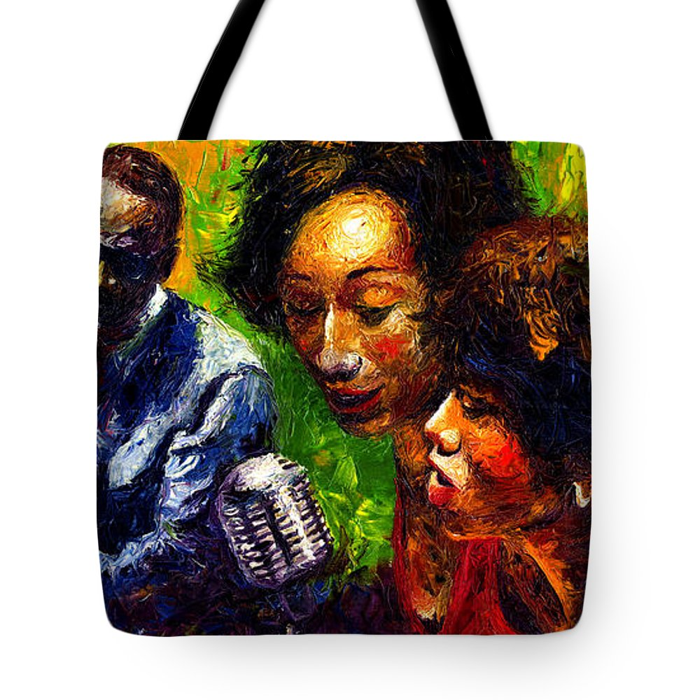 Jazz Tote Bag featuring the painting Jazz Ray Song by Yuriy Shevchuk